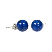 925 Sterling Silver 10mm Natural Afghani Lapis Lazuli Ball Stud Post Earrings