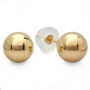 10k Yellow Gold Ball 6mm Stud Earrings with Silicone covered Gold Pushbacks
