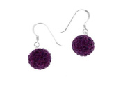 Sterling Silver Pave Purple Crystal Ball Earrings-12mm