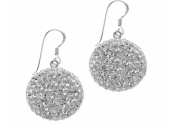 Sterling Silver & Pave Crystal Ball Dome Earrings-20mm