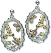 Landstroms Black Hills Gold and Silver Hummingbird Earrings, for pierced ears - 01596SS