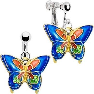 Handcrafted Blue Cloisonne Butterfly Clip Earrings