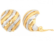 JanKuo Jewellery Two Tone Gold and Silver Shinning Polished Clip On Earrings Ship