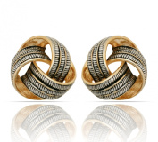 JanKuo Jewellery Two Tone Gold and Silver Antique Style Knot Clip On Earrings