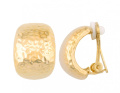 JanKuo Jewellery Gold Tone Clip On Earring Hammered Style