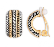 Jankuo Jewellery Two Tone Gold and Silver Antique Style with Symmetrical Shape and Twisted Rope Clip On Earrings Ship in Gift Box.