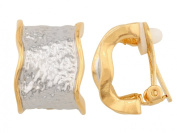 JanKuo Jewellery Two Tone Gold and Silver Clip On Earrings with Hammered Texture Style Ship with Gift Box