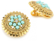 Antiquities Couture Vintage-Inspired Turquoise Coloured and Gold-Tone Clip On Earrings