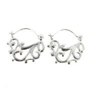 Queenberry Sterling Silver Filigree Flower Chandelier Hoop Earrings