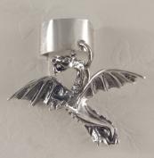 Sterling Silver Flying Dragon Ear Cuff
