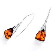 Sterling silver and triangular-shaped, cognac amber earrings