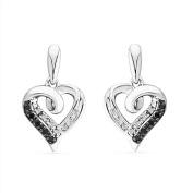 Platinum Plated Sterling Silver Black And White Round Diamond Fashion Earring