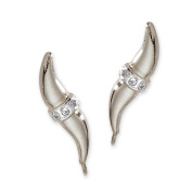 The Ear Pin Diamond Accent Cuff Centre Sterling Silver Earrings