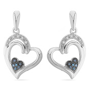 Platinum Plated Sterling Silver Blue and White Round Diamond Fashion Earrings