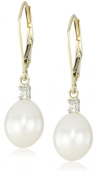 10k Gold Freshwater Cultured Pearl and Diamond Drop Earrings