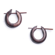 Brown 16g stick small tribal wood wooden earrings pair by 81stgeneration