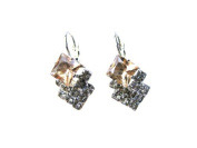 Austrian Orange Crystal Leverback Earrings -SKU#