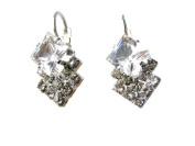 Austrian Colourless Crystal Leverback Earrings -SKU#