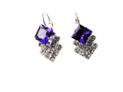 Austrian Purple Crystal Leverback Earrings -SKU#