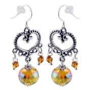 Dangle Earrings - Heart Shape Inspired Design with Dangling Golden Yellow Bead Crystals