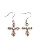 Fashion Jewellery ~ Amethyst Violet Crystals Cross Silvertone Hook Earrings