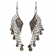 Unique Dangling Chandelier Bling Bling Earrings in Black plated Alloy Metal Angel Wing Guardian with graduating round Petals