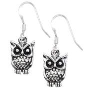 Silver Two-Sided Mini Owl Earrings