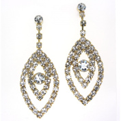 Clear Crystal Leaf Drop and Bold Centre Round Shape Stone Post Earrings