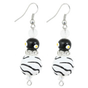 Clementine Design Kate & Macy Z is for Zebra Earrings Painted Glass Rhinestones