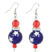 Clementine Design Kate & Macy All for America Earrings Painted Glass Rhinestones