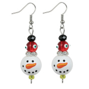 Clementine Design Kate & Macy Sparkling Snowman Christmas Holiday Earrings Painted Glass Rhinestones