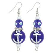 Clementine Design Kate & Macy Anchors Away Nautical Earrings Painted Glass Rhinestones