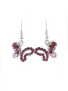 Fashion Jewellery ~ Fuschia Pink Butterfly Hook Earrings Accented with Crystals