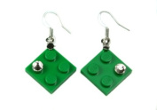 LEGO Green Dangle Earrings with. Crystals Jewellery