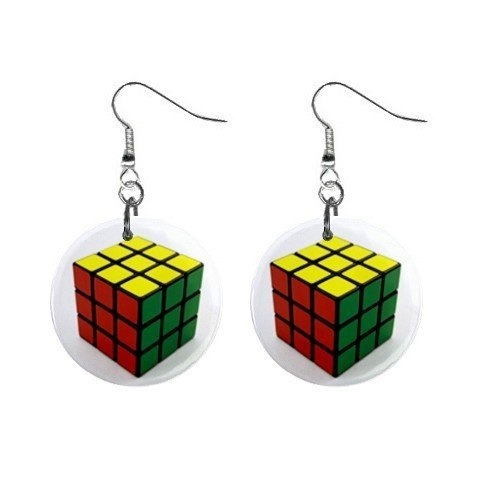 Retro Colourful Rubix Puzzle Cube Style Drop Earrings on card - 80's measure 35mm long aD2Wcsj