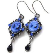 Cute Small Dark Navy Blue Teardrop Cameo Hoop Dangle Earrings Vintage Design NEW Romantic Cameo Jewellery