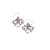 Antique Silver Metal Octopus Earrings