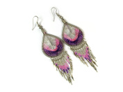Morning Roses Teardrop Thread Earrings with Bead and Silver Shimmer Dangles
