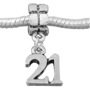 Antique Silver Happy 21st Birthday Dangle Charm.