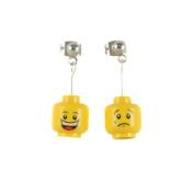 LEGO MiniFig Head Happy Sad Dangle Earrings Jewellery
