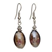 """Lova Jewellery """"Espresso"""" Hand-Blown Venetian Murano Glass Drop Earrings"""