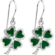 Jewelled Heart Shamrock Earrings