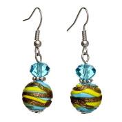"Lova Jewellery ""Sun, Moon and Stars"" Hand-Blown Venetian Murano Glass Drop Earrings"