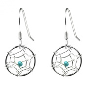 Dream Catcher Turquoise Very Small Round Earrings Sterling Silver