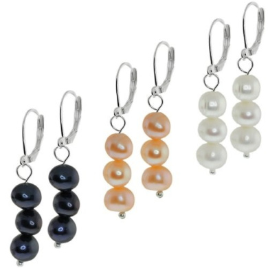 Set Of 3 Black White and Pink Freshwater Pearl Drop Lever Back Earrings 7-8mm