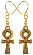 Gold Colour Pewter Egyptian Ankh Earrings with Red Gem