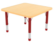 Early Childhood Resource ELR-14117-MMRD-C 121.9cm . Maple Square Adjustable Activity Table with Red Chunky Leg