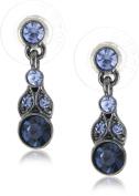 1928 Jewellery Simplicity Hematite-Colour and Sapphire Petite Drop Earrings