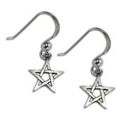 Sterling Silver Pentagram Dangle Earrings Wiccan Pagan Pentacle Jewellery