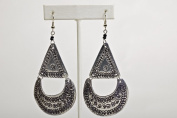 Maisha Beautiful African Fair Trade. Hand Hammered Silver Colour Chic Earrings with black glass beads